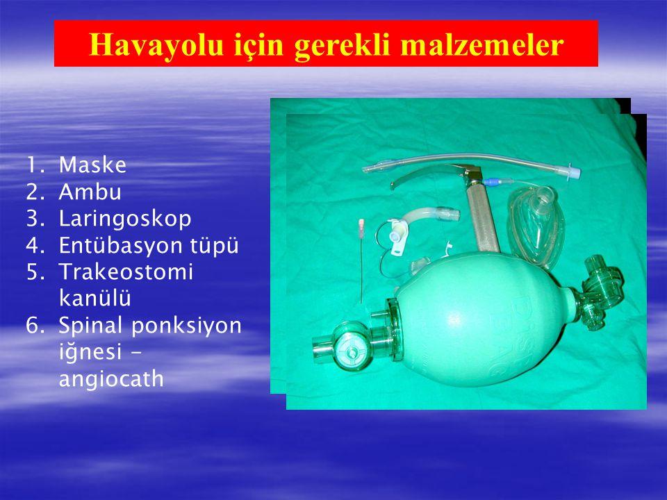Havayolu için gerekli malzemeler 1.Maske 2.Ambu 3.Laringoskop 4.Entübasyon tüpü 5.Trakeostomi kanülü 6.Spinal ponksiyon iğnesi - angiocath 1 2 3 4 5 6