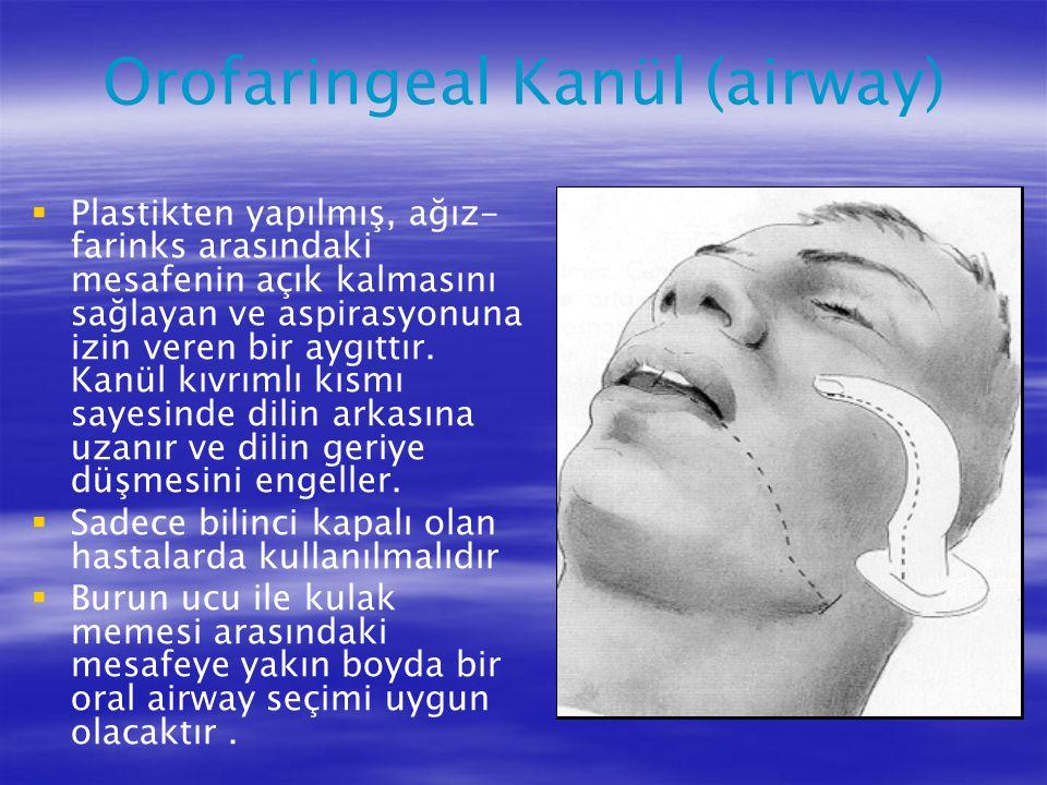 Orofaringeal Kanül (airway)   Plastikten yapılmış, ağız- farinks arasındaki mesafenin açık kalmasını sağlayan ve aspirasyonuna izin veren bir aygıtt