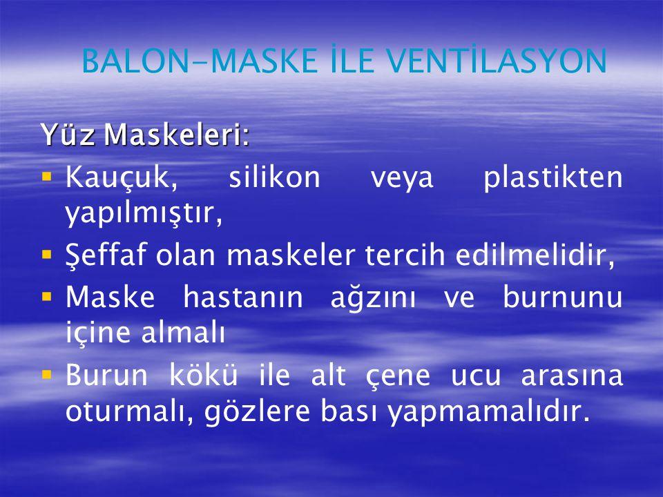 BALON-MASKE İLE VENTİLASYON Yüz Maskeleri:   Kauçuk, silikon veya plastikten yapılmıştır,   Şeffaf olan maskeler tercih edilmelidir,   Maske has