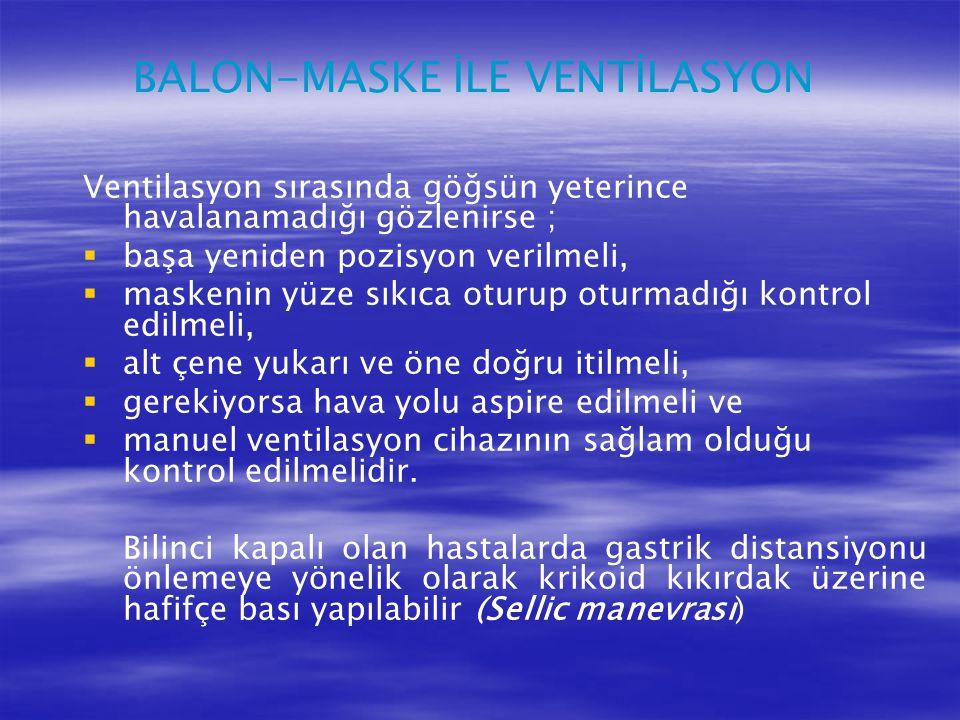 BALON-MASKE İLE VENTİLASYON Ventilasyon sırasında göğsün yeterince havalanamadığı gözlenirse ;   başa yeniden pozisyon verilmeli,   maskenin yüze