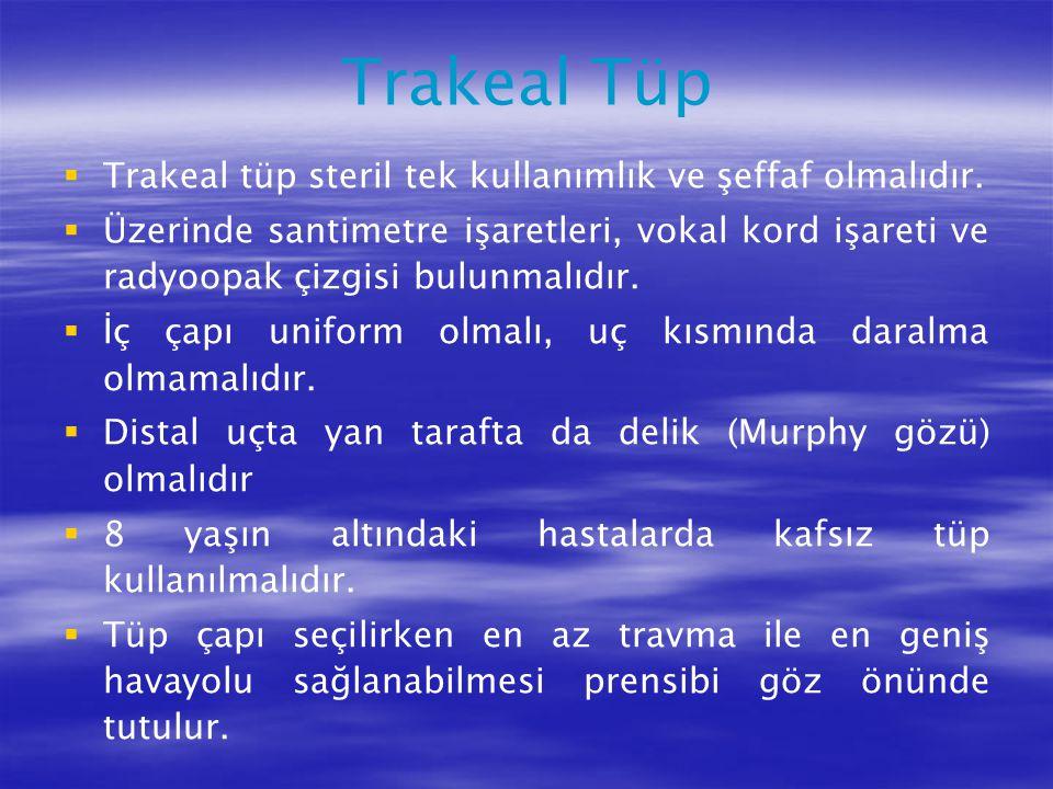 Trakeal Tüp   Trakeal tüp steril tek kullanımlık ve şeffaf olmalıdır.   Üzerinde santimetre işaretleri, vokal kord işareti ve radyoopak çizgisi bu