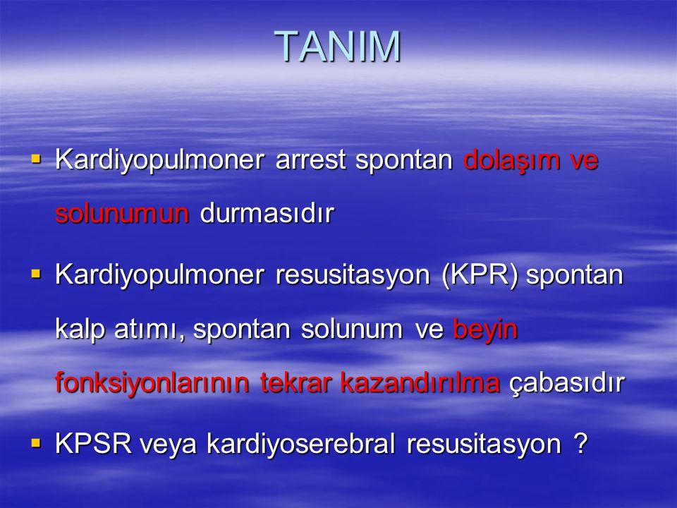 TANIM  Kardiyopulmoner arrest spontan dolaşım ve solunumun durmasıdır  Kardiyopulmoner resusitasyon (KPR) spontan kalp atımı, spontan solunum ve bey
