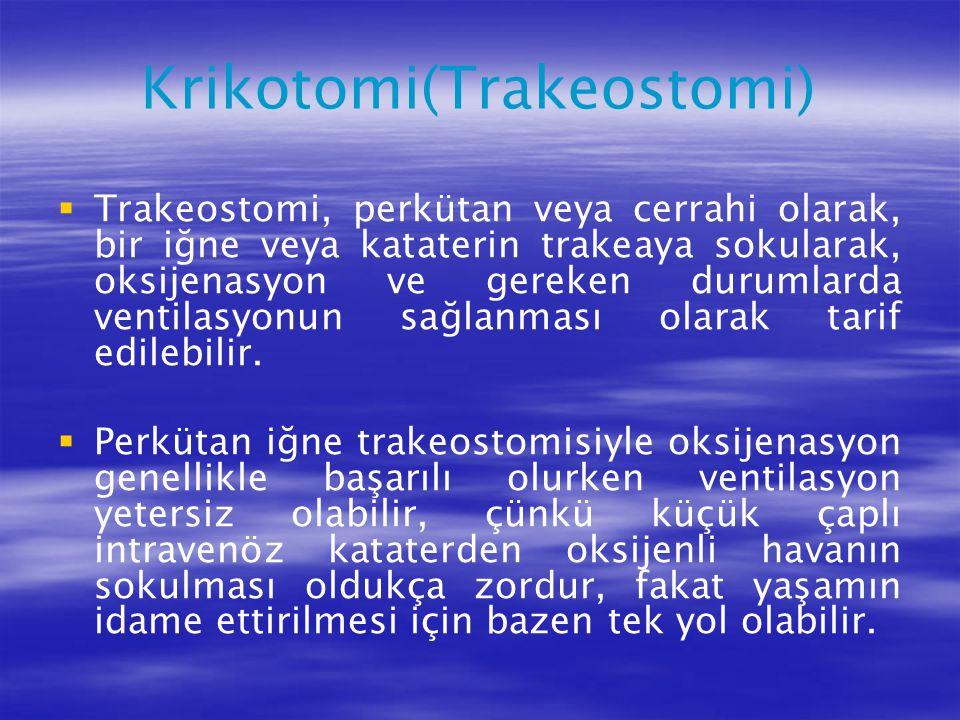 Krikotomi(Trakeostomi)   Trakeostomi, perkütan veya cerrahi olarak, bir iğne veya kataterin trakeaya sokularak, oksijenasyon ve gereken durumlarda v