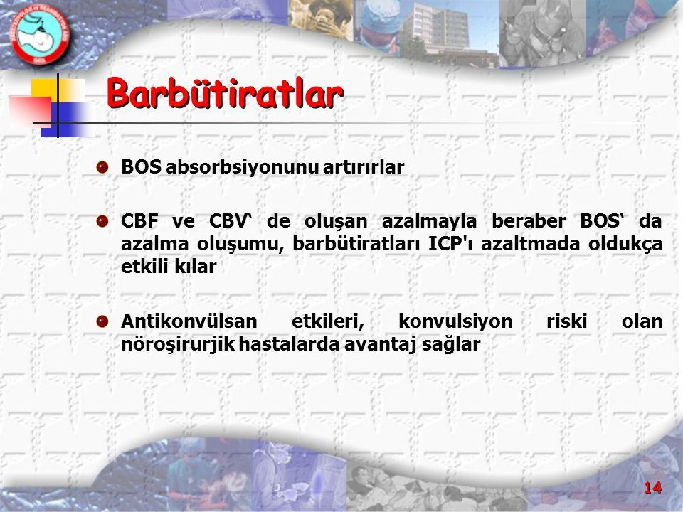 14 Barbütiratlar BOS absorbsiyonunu artırırlar CBF ve CBV' de oluşan azalmayla beraber BOS' da azalma oluşumu, barbütiratları ICP'ı azaltmada oldukça