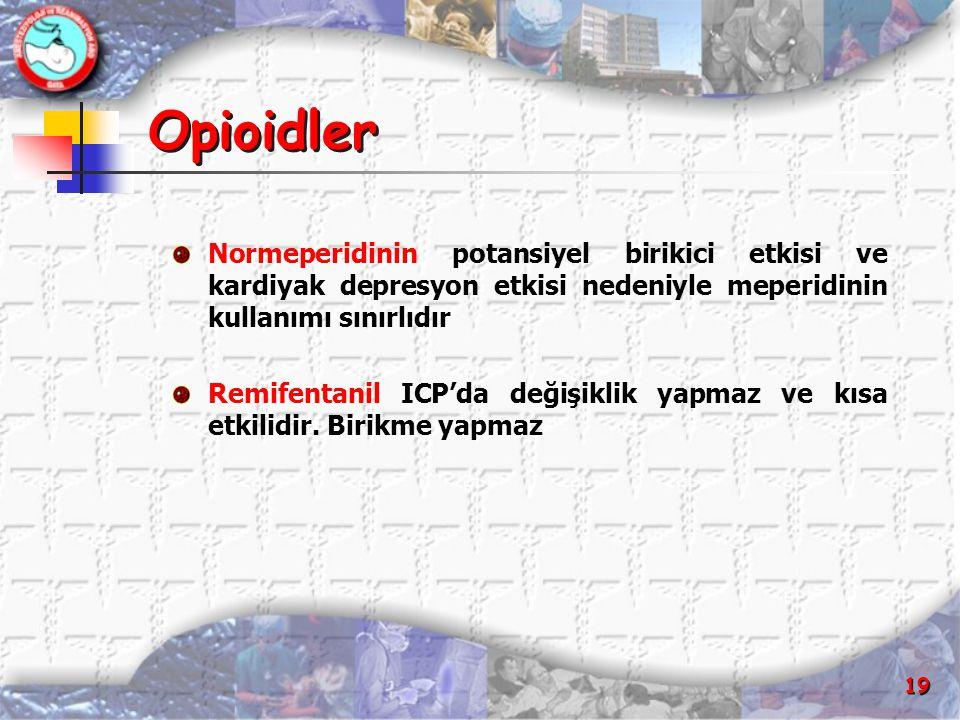 19 Opioidler Normeperidinin potansiyel birikici etkisi ve kardiyak depresyon etkisi nedeniyle meperidinin kullanımı sınırlıdır Remifentanil ICP'da değ