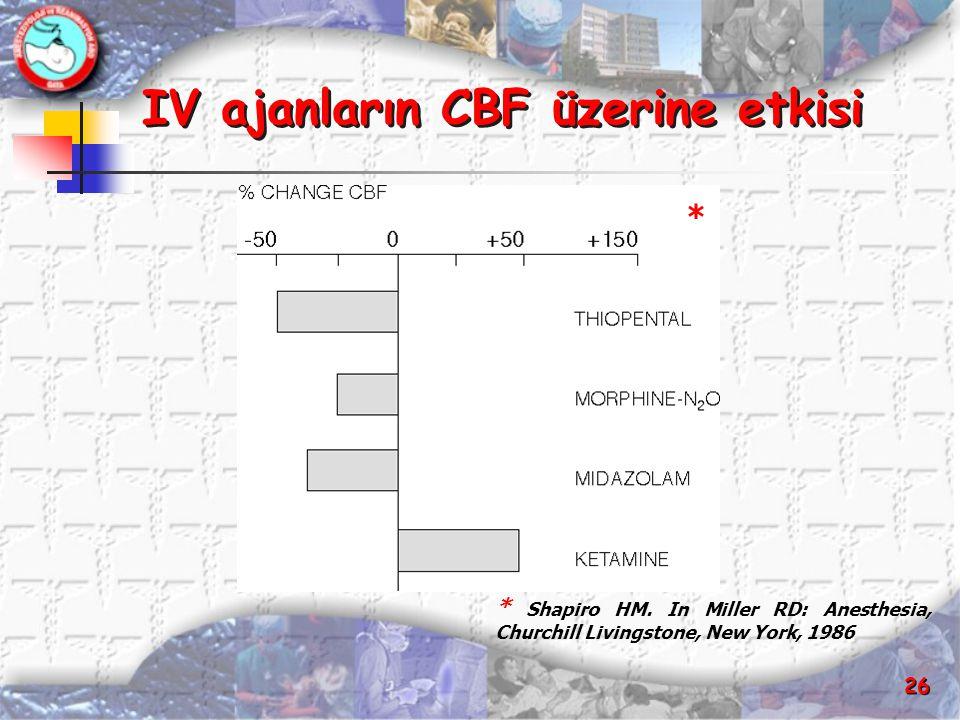 26 IV ajanların CBF üzerine etkisi IV ajanların CBF üzerine etkisi * Shapiro HM. In Miller RD: Anesthesia, Churchill Livingstone, New York, 1986 *