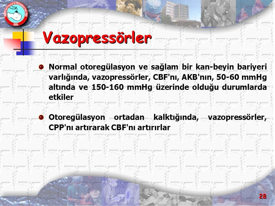 28 Vazopressörler Normal otoregülasyon ve sağlam bir kan-beyin bariyeri varlığında, vazopressörler, CBF'nı, AKB'nın, 50-60 mmHg altında ve 150-160 mmH