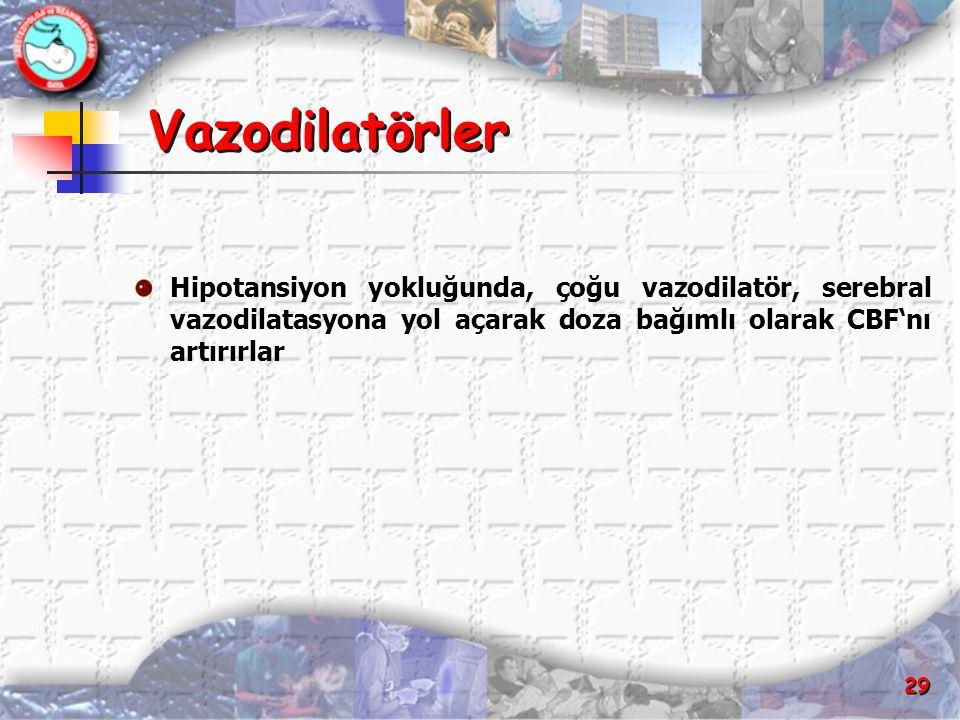29 Vazodilatörler Hipotansiyon yokluğunda, çoğu vazodilatör, serebral vazodilatasyona yol açarak doza bağımlı olarak CBF'nı artırırlar