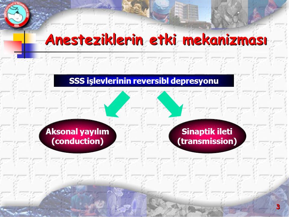 3 Anesteziklerin etki mekanizması SSS işlevlerinin reversibl depresyonu Aksonal yayılım (conduction) Sinaptik ileti (transmission)