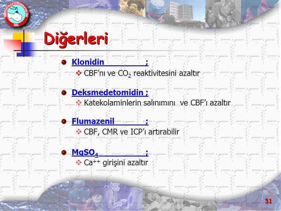 31 Diğerleri Klonidin;  CBF'nı ve CO 2 reaktivitesini azaltır Deksmedetomidin;  Katekolaminlerin salınımını ve CBF'ı azaltır Flumazenil;  CBF, CMR