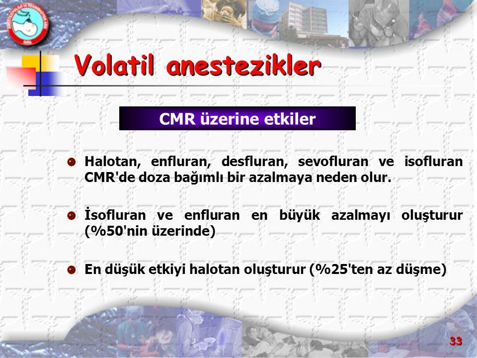 33 Volatil anestezikler Volatil anestezikler Halotan, enfluran, desfluran, sevofluran ve isofluran CMR'de doza bağımlı bir azalmaya neden olur. İsoflu
