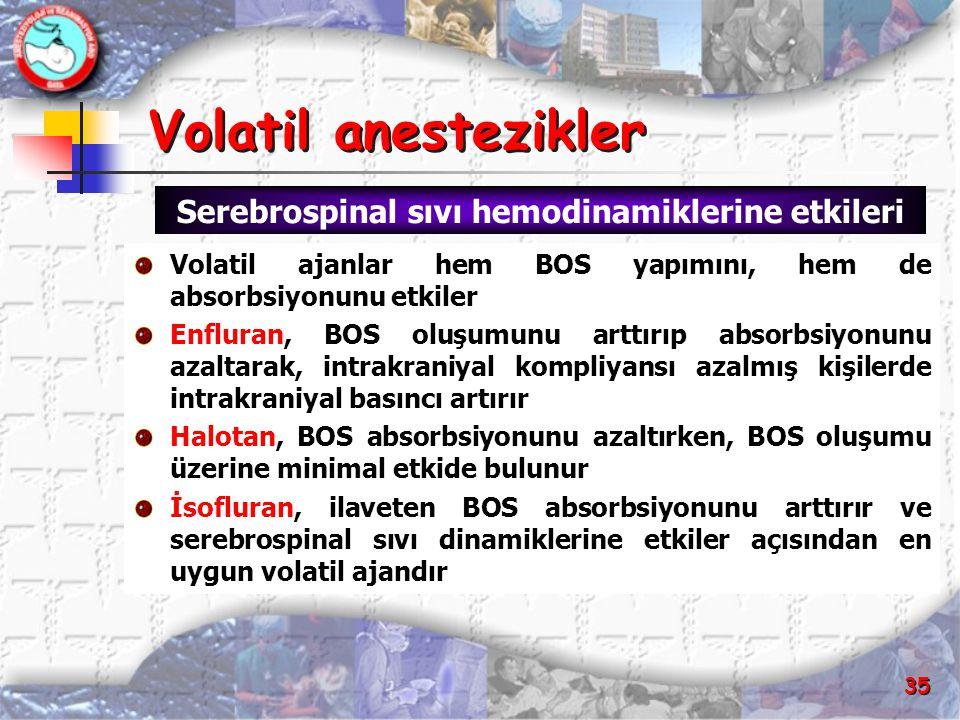 35 Volatil anestezikler Volatil anestezikler Volatil ajanlar hem BOS yapımını, hem de absorbsiyonunu etkiler Enfluran, BOS oluşumunu arttırıp absorbsi