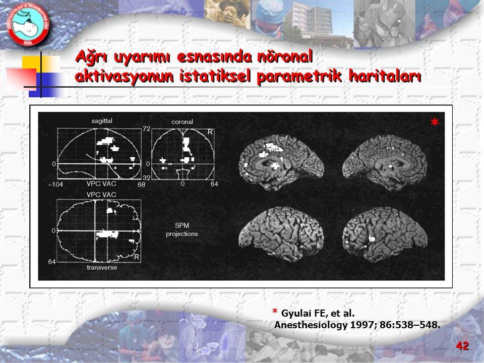 42 Ağrı uyarımı esnasında nöronal aktivasyonun istatiksel parametrik haritaları Ağrı uyarımı esnasında nöronal aktivasyonun istatiksel parametrik hari