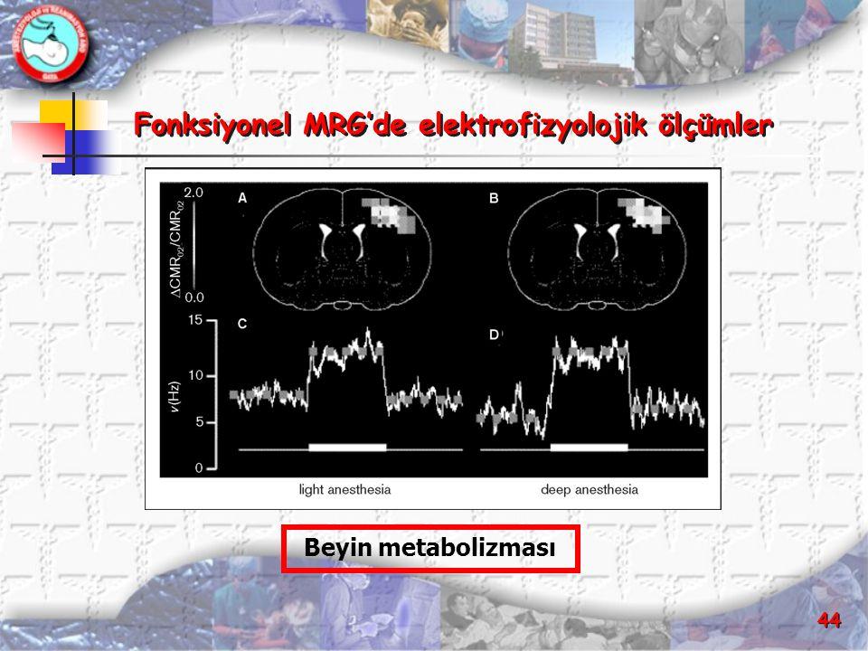 44 Fonksiyonel MRG'de elektrofizyolojik ölçümler Fonksiyonel MRG'de elektrofizyolojik ölçümler Beyin metabolizması