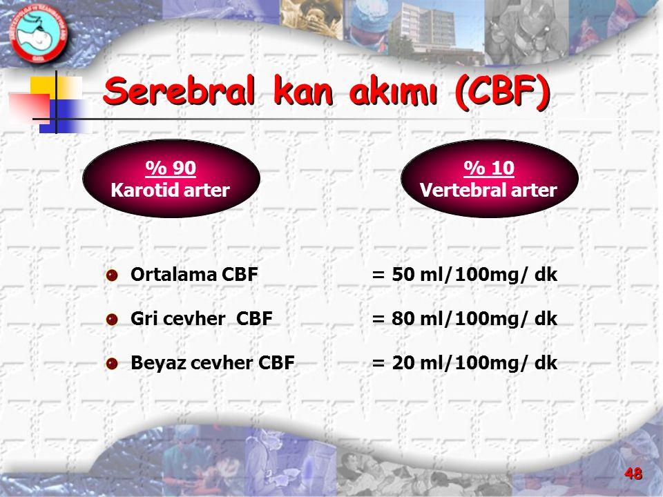 48 Serebral kan akımı (CBF) Serebral kan akımı (CBF) Ortalama CBF = 50 ml/100mg/ dk Gri cevher CBF= 80 ml/100mg/ dk Beyaz cevher CBF = 20 ml/100mg/ dk