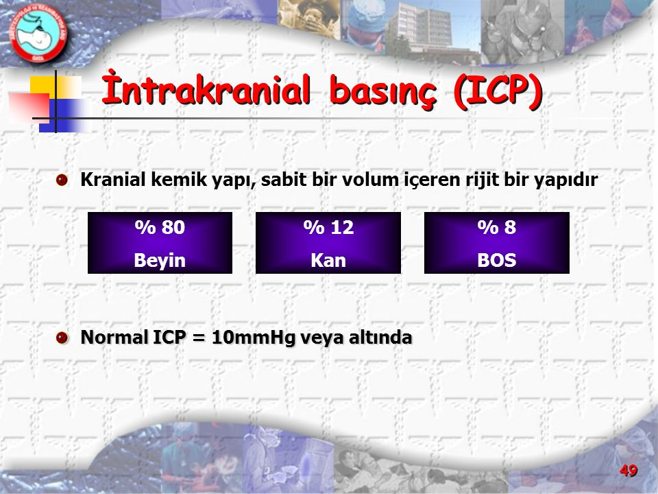 49 İntrakranial basınç (ICP) İntrakranial basınç (ICP) Kranial kemik yapı, sabit bir volum içeren rijit bir yapıdır Normal ICP = 10mmHg veya altında %