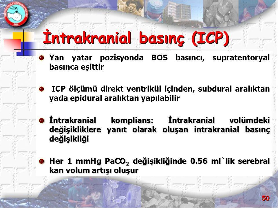 50 İntrakranial basınç (ICP) Yan yatar pozisyonda BOS basıncı, supratentoryal basınca eşittir ICP ölçümü direkt ventrikül içinden, subdural aralıktan