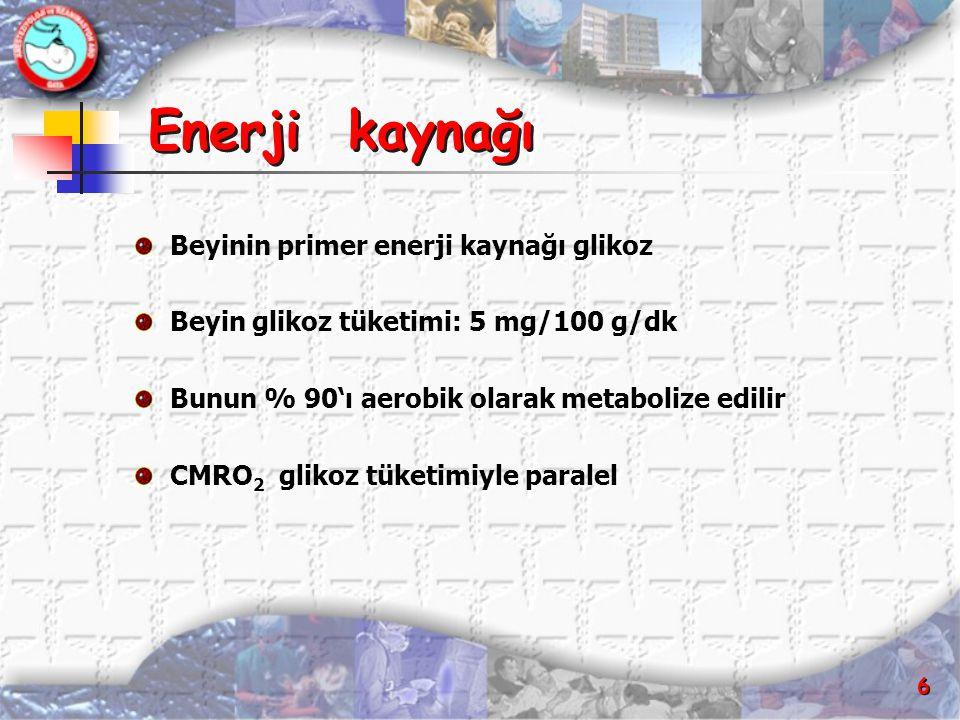 6 Enerji kaynağı Beyinin primer enerji kaynağı glikoz Beyin glikoz tüketimi: 5 mg/100 g/dk Bunun % 90'ı aerobik olarak metabolize edilir CMRO 2 glikoz