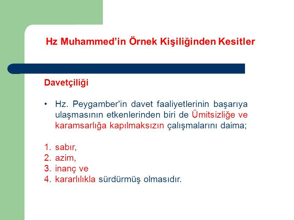 Hz Muhammed'in Örnek Kişiliğinden Kesitler Davetçiliği Hz. Peygamber'in davet faaliyetlerinin başarıya ulaşmasının etkenlerinden biri de Ümitsizliğe v