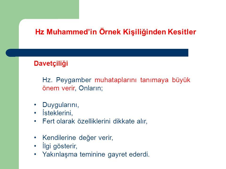 Hz Muhammed'in Örnek Kişiliğinden Kesitler Davetçiliği Hz. Peygamber muhataplarını tanımaya büyük önem verir, Onların; Duygularını, İsteklerini, Fert