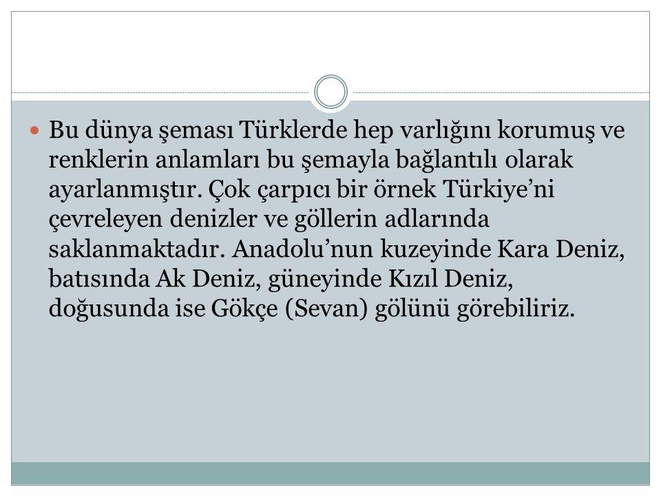 Bu dünya şeması Türklerde hep varlığını korumuş ve renklerin anlamları bu şemayla bağlantılı olarak ayarlanmıştır. Çok çarpıcı bir örnek Türkiye'ni çe
