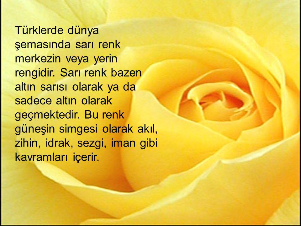 Türklerde dünya şemasında sarı renk merkezin veya yerin rengidir. Sarı renk bazen altın sarısı olarak ya da sadece altın olarak geçmektedir. Bu renk g