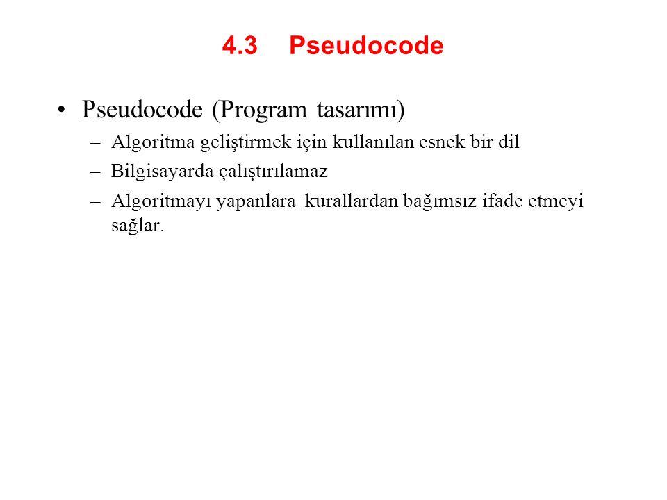 4.3 Pseudocode Pseudocode (Program tasarımı) –Algoritma geliştirmek için kullanılan esnek bir dil –Bilgisayarda çalıştırılamaz –Algoritmayı yapanlara kurallardan bağımsız ifade etmeyi sağlar.