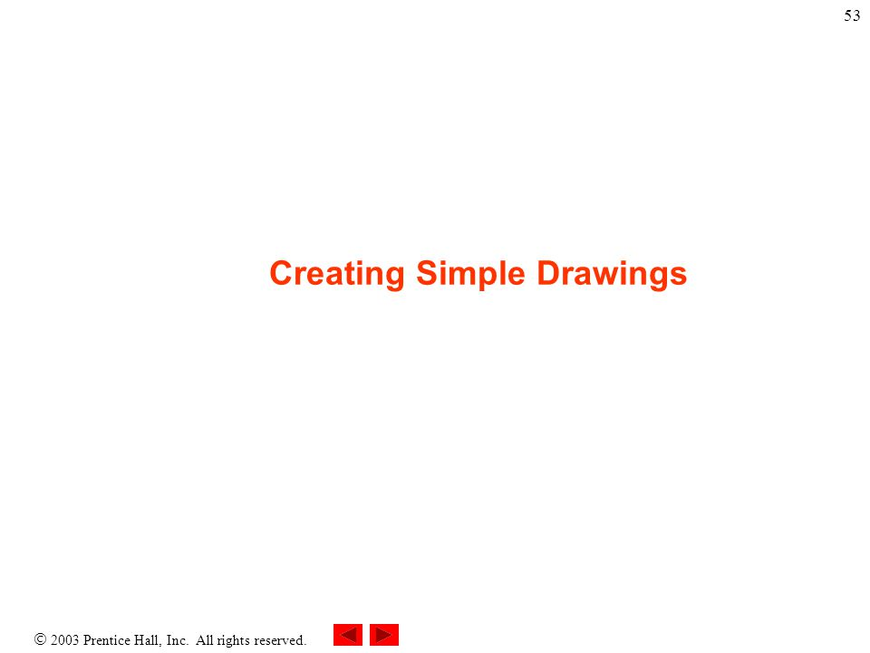  2003 Prentice Hall, Inc. All rights reserved. 53 Creating Simple Drawings