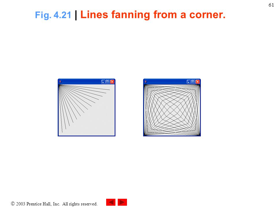  2003 Prentice Hall, Inc. All rights reserved. 61 Fig. 4.21 | Lines fanning from a corner.