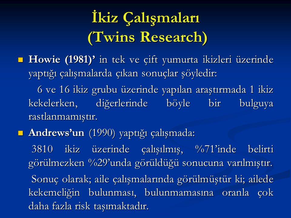 İkiz Çalışmaları (Twins Research) Howie (1981)' in tek ve çift yumurta ikizleri üzerinde yaptığı çalışmalarda çıkan sonuçlar şöyledir: Howie (1981)' i