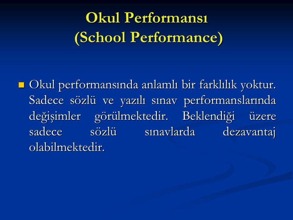 Okul Performansı (School Performance) Okul performansında anlamlı bir farklılık yoktur. Sadece sözlü ve yazılı sınav performanslarında değişimler görü