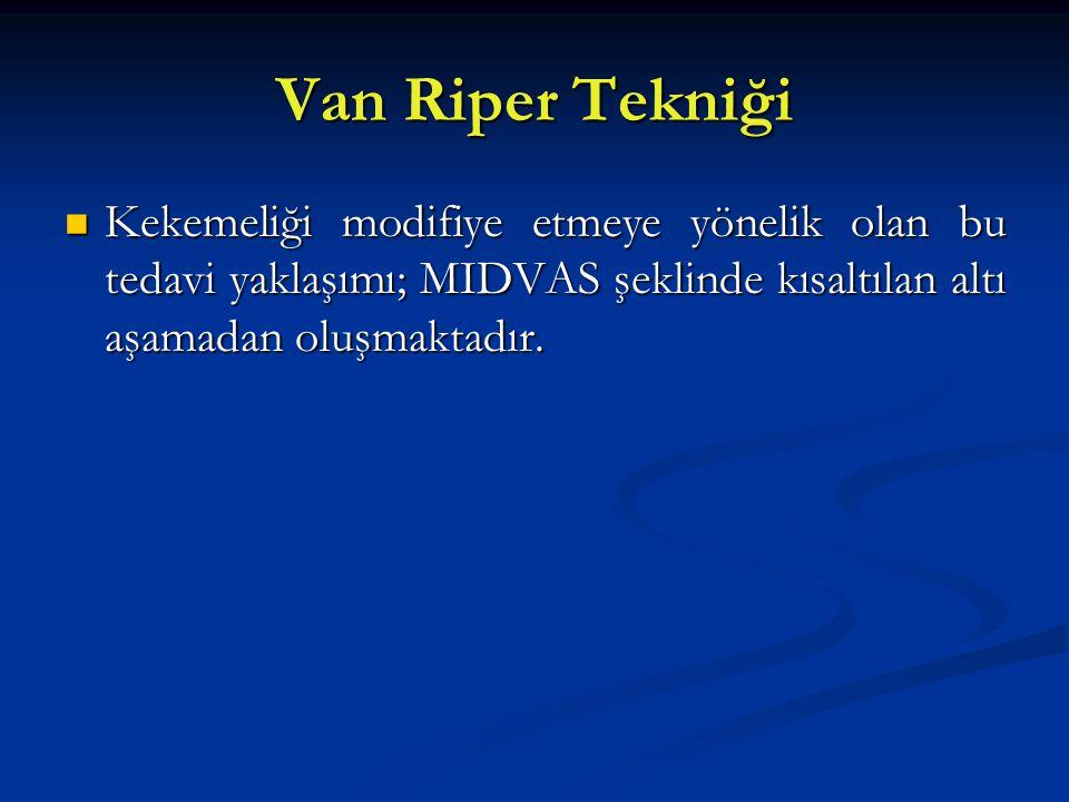 Van Riper Tekniği Kekemeliği modifiye etmeye yönelik olan bu tedavi yaklaşımı; MIDVAS şeklinde kısaltılan altı aşamadan oluşmaktadır. Kekemeliği modif