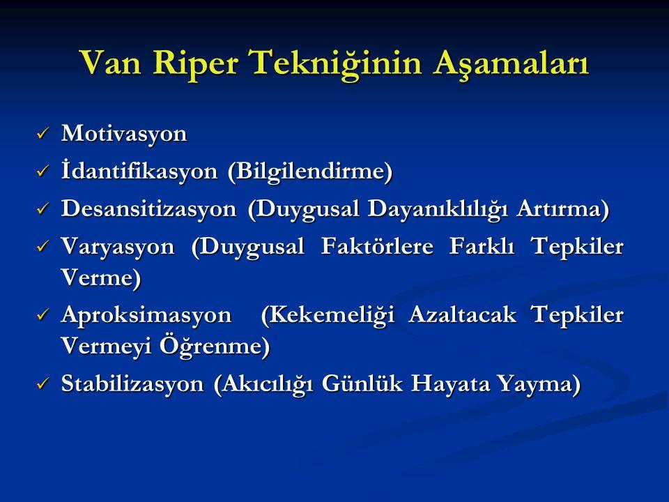 Van Riper Tekniğinin Aşamaları Motivasyon Motivasyon İdantifikasyon (Bilgilendirme) İdantifikasyon (Bilgilendirme) Desansitizasyon (Duygusal Dayanıklı