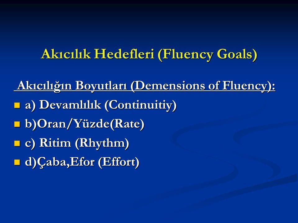 Akıcılık Hedefleri (Fluency Goals) Akıcılığın Boyutları (Demensions of Fluency): Akıcılığın Boyutları (Demensions of Fluency): a) Devamlılık (Continui