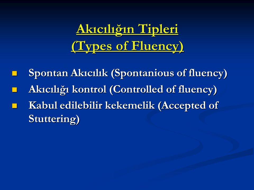 Akıcılığın Tipleri (Types of Fluency) Spontan Akıcılık (Spontanious of fluency) Spontan Akıcılık (Spontanious of fluency) Akıcılığı kontrol (Controlle