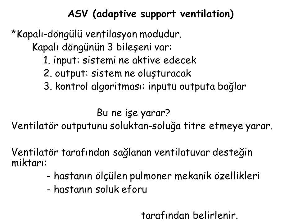 ASV'nin amacı: Uygun alveolar ventilasyon sağlanırken, hastanın ve ventilatörün solunum işinin azaltılmasıdır ASV tam veya parsiyel solunum desteği sağlayabildiğinden mekanik ventilasyonun başlangıcından weaninge kadar kullanılabilir.