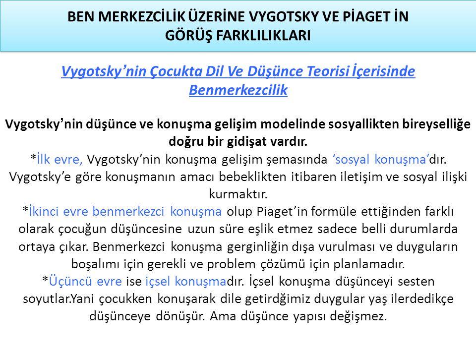 Vygotsky'nin Çocukta Dil Ve Düşünce Teorisi İçerisinde Benmerkezcilik Vygotsky'nin düşünce ve konuşma gelişim modelinde sosyallikten bireyselliğe doğr