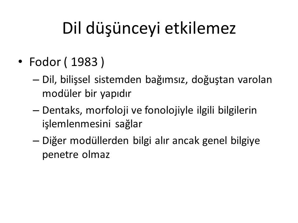 Dil düşünceyi etkilemez Fodor ( 1983 ) – Dil, bilişsel sistemden bağımsız, doğuştan varolan modüler bir yapıdır – Dentaks, morfoloji ve fonolojiyle il