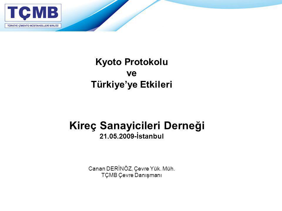 Kyoto Protokolu ve Türkiye'ye Etkileri Kireç Sanayicileri Derneği 21.05.2009-İstanbul Canan DERİNÖZ, Çevre Yük. Müh. TÇMB Çevre Danışmanı
