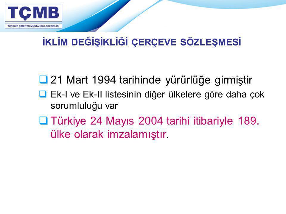 İKLİM DEĞİŞİKLİĞİ ÇERÇEVE SÖZLEŞMESİ  21 Mart 1994 tarihinde yürürlüğe girmiştir  Ek-I ve Ek-II listesinin diğer ülkelere göre daha çok sorumluluğu