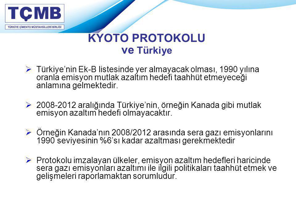 KYOTO PROTOKOLU ve Türkiye  Türkiye'nin Ek-B listesinde yer almayacak olması, 1990 yılına oranla emisyon mutlak azaltım hedefi taahhüt etmeyeceği anl