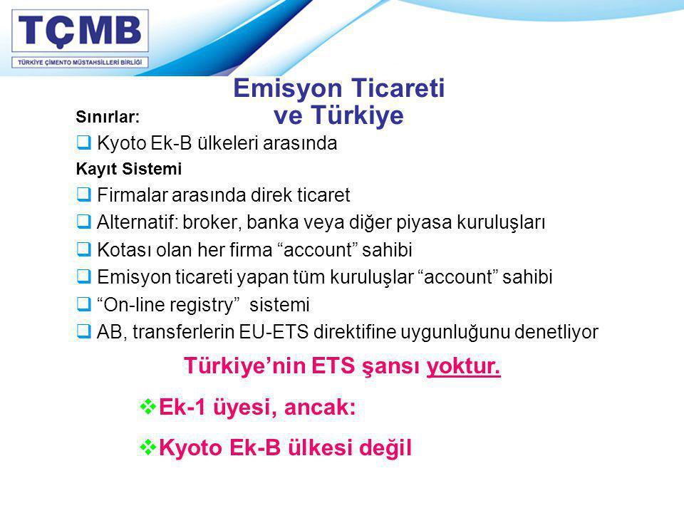 Emisyon Ticareti ve Türkiye Sınırlar:  Kyoto Ek-B ülkeleri arasında Kayıt Sistemi  Firmalar arasında direk ticaret  Alternatif: broker, banka veya