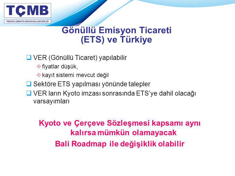 Gönüllü Emisyon Ticareti (ETS) ve Türkiye  VER (Gönüllü Ticaret) yapılabilir  fiyatlar düşük,  kayıt sistemi mevcut değil  Sektöre ETS yapılması y