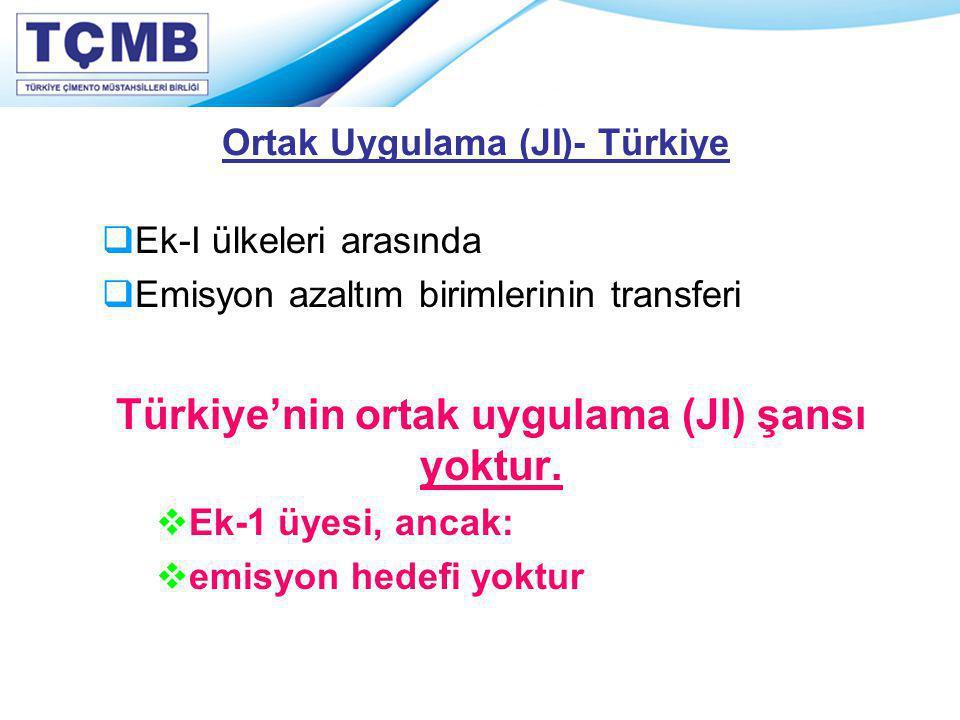 Ortak Uygulama (JI)- Türkiye  Ek-I ülkeleri arasında  Emisyon azaltım birimlerinin transferi Türkiye'nin ortak uygulama (JI) şansı yoktur.  Ek-1 üy