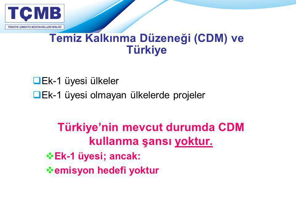 Temiz Kalkınma Düzeneği (CDM) ve Türkiye  Ek-1 üyesi ülkeler  Ek-1 üyesi olmayan ülkelerde projeler Türkiye'nin mevcut durumda CDM kullanma şansı yo