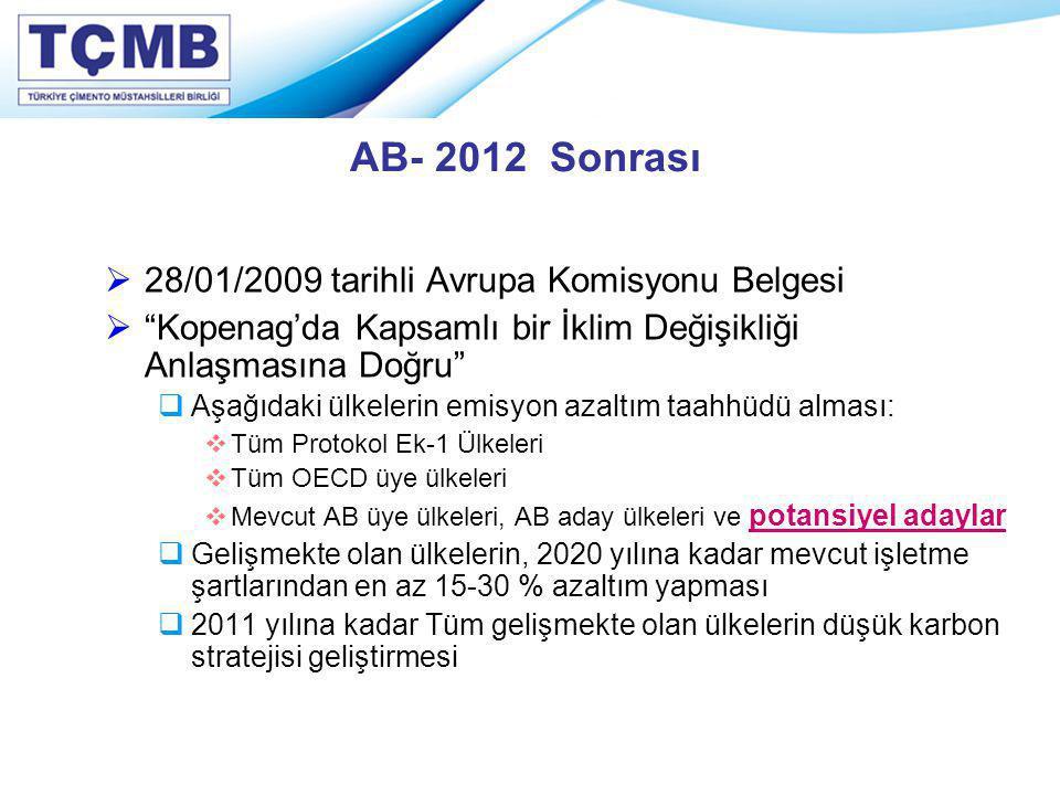 """AB- 2012 Sonrası  28/01/2009 tarihli Avrupa Komisyonu Belgesi  """"Kopenag'da Kapsamlı bir İklim Değişikliği Anlaşmasına Doğru""""  Aşağıdaki ülkelerin e"""