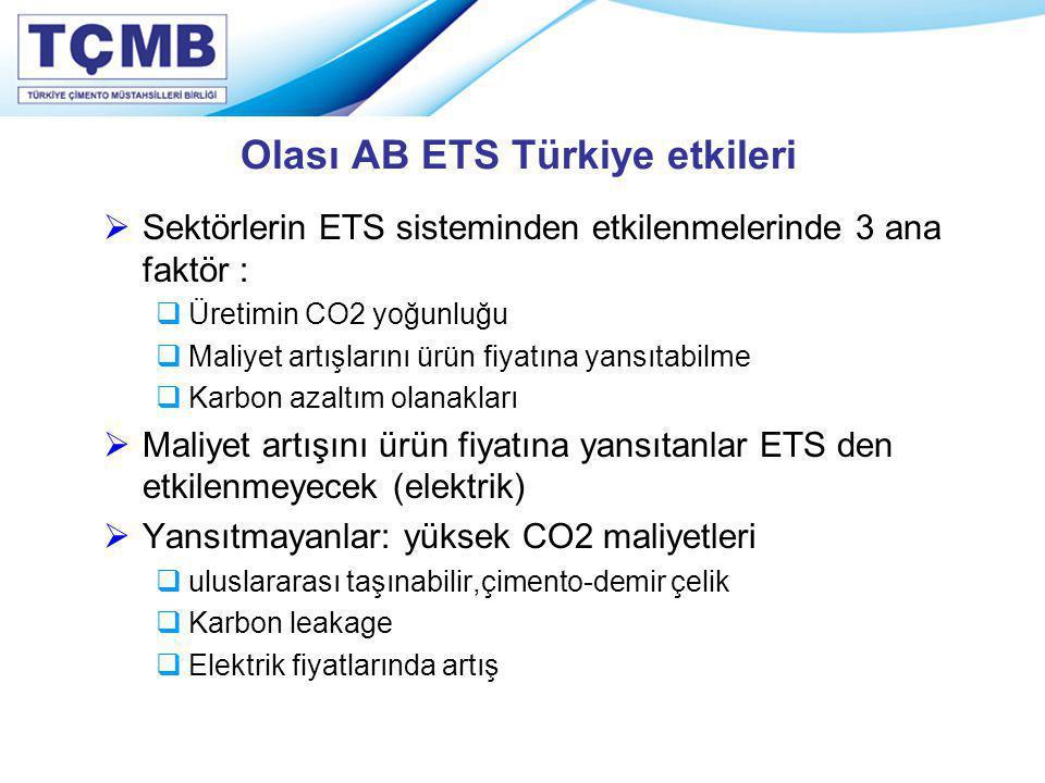 Olası AB ETS Türkiye etkileri  Sektörlerin ETS sisteminden etkilenmelerinde 3 ana faktör :  Üretimin CO2 yoğunluğu  Maliyet artışlarını ürün fiyatı