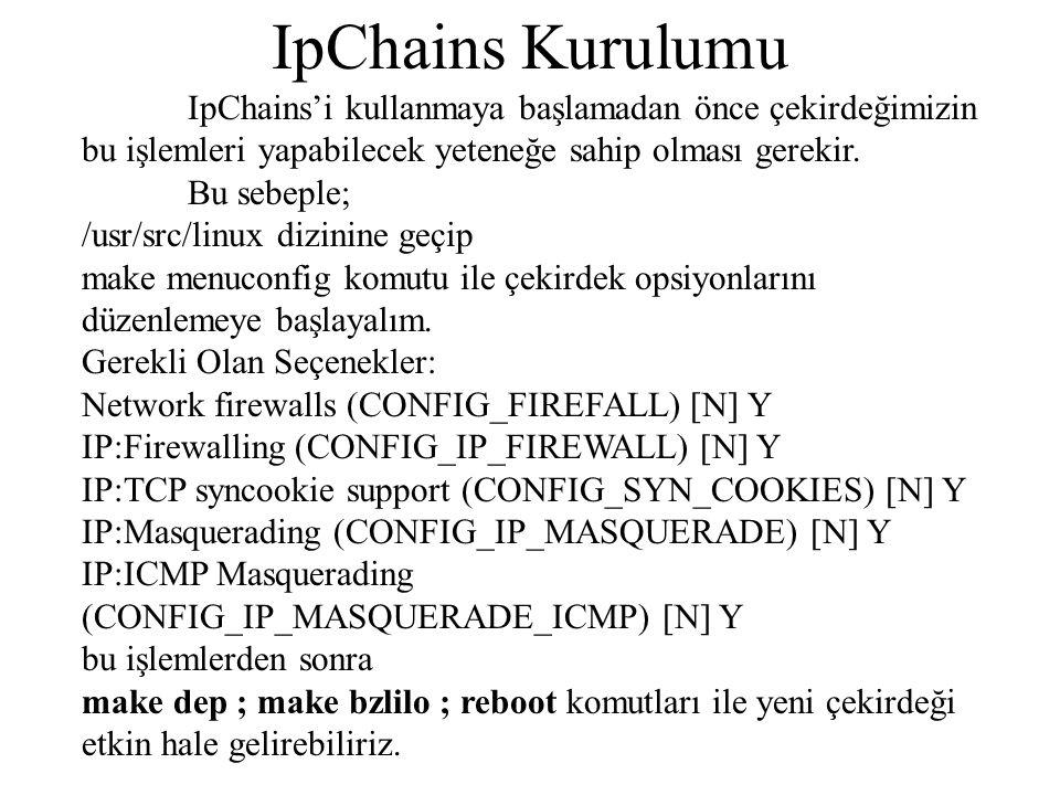 IpChains Kurulumu IpChains'i kullanmaya başlamadan önce çekirdeğimizin bu işlemleri yapabilecek yeteneğe sahip olması gerekir.