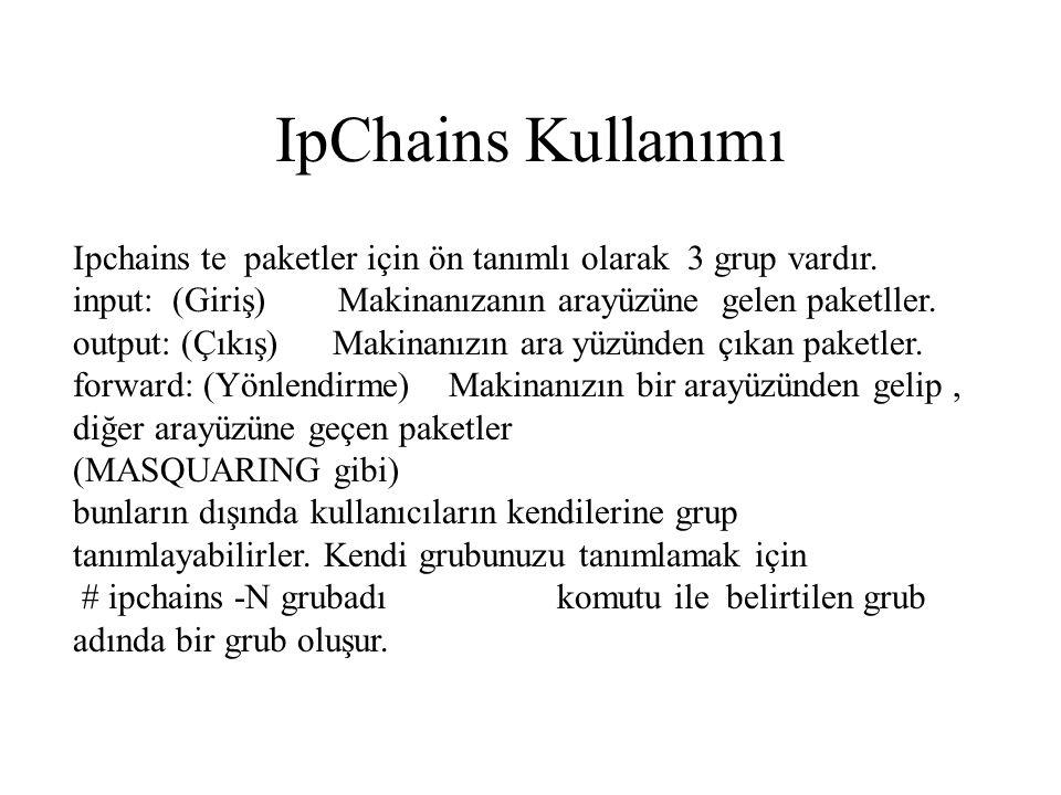 IpChains Kullanımı Ipchains te paketler için ön tanımlı olarak 3 grup vardır.