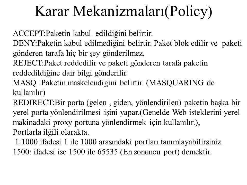 Karar Mekanizmaları(Policy) ACCEPT:Paketin kabul edildiğini belirtir.